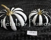 Lot #11  Black White Striped Pumpkin-Pair Hand Painted-Fall-Halloween Decoration-Centerpiece-SEE Photos for measurements-READY to SHIP