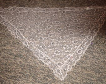 vintage ladies head neck scarf white gray lace triangle