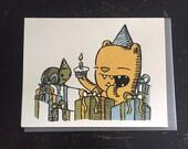 happy birthday turtle birthday card, turtle birthday card, bear birthday card, cute birthday card, kids birthday card