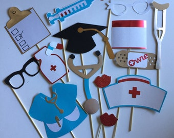 NURSES photo booth props, nursing school photo props, nursing grad party props, graduation hat, grad party decorations
