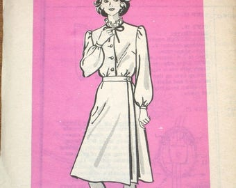 Vintage 1970s Mail Order Sewing Pattern 9491 Wrap Skirt, Button Down Tie Collar Blouse, Womens Misses Bust 40 W 33 H 42 Uncut Factory Folds