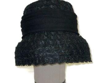 1960s Black Hat Black Lampshade Hat 50s 60s Lampshade Hat Chiffon Ribbon Vintage Black Hat Womens Dress Hat Black Bucket Hat