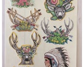 Western Native American Indian Deer and Cactus Stickers by Artist Donna Mallory