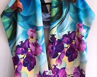 Poetry on Dusty Blue - Faille Scarf / Shawl / Hijab / Handmade Fashion Accessory / Flowers / Orchids