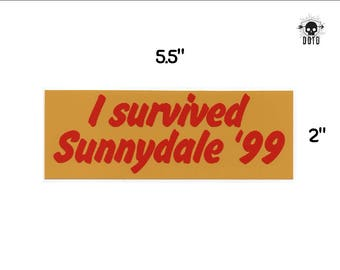 I Survived Sunnydale sticker - buffy BTVS decal - sunnydale hellmouth - opaque decal - bumper sticker laptop decal geek gift vampire slayer