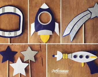 Galactic Photo-Booth Prop Set | Space Photo-Booth Props | Astronauts and Aliens Props | Stiff FELT and Soft FELT