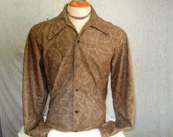 90s L Panorama Ultrasuede Studded Big Collar Men's L/S Disco Shirt Brown