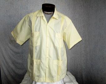 80s XL D'Escalente Linen Blend Guayabera Men's S/S Shirt Pale Yellow