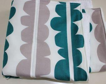 Dish Dryring Mat / Dish Mat / Dish Drying Towel in Jade Green and Slate Grey by Lotta Jansdotter Echo/ Dish Drying Mat