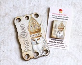 Snowy Owl #1 Thread Keep Needle Minders Crowned Bird Collection cross stitch floss holder