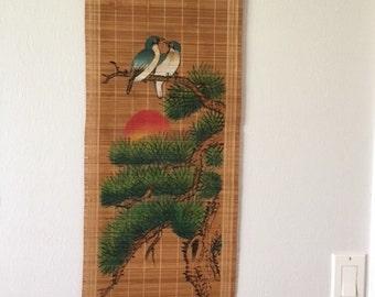Vintage Japanese Bamboo Wall Hanging
