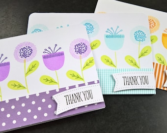 Floral Thank You Cards Set of 3, Scandinavian Print Thank You Notes Set, Christmas Thank You Notes, Spring Thank You, Floral Stationery Set