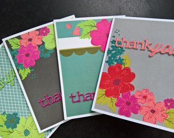 Floral Thank You Cards Set of 4, Handmade Thank You Notes, Floral Stationery Set, Flower Thank You Notecards Set