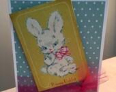 Happy Easter Blank, Handmade, Vintage Style Card