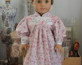 Nightgown in Pink Floral Cotton with Vintage Embroidered Trim for 18 Inch Doll, AC125