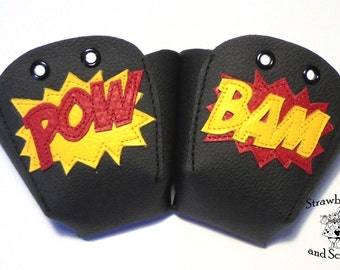 Black leather Roller Derby skate toe guards with Pow Bam in any colour