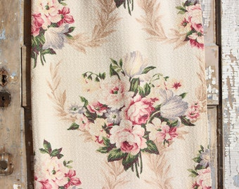 Pink English Cabbage Roses Lavender Tulips Floral Vintage 1930s Vintage Nubby Barkcloth Fabric Drapes Drapery Curtains Panel