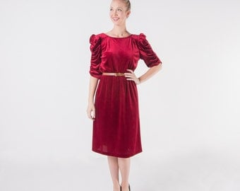 Burgundy Velvet Holiday Dress/ Red Wine Dress/ 1970s Dress