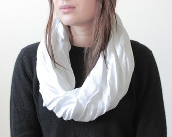 White linen scarf, White infinity scarf, White scarves, Linen women's clothing by LHI