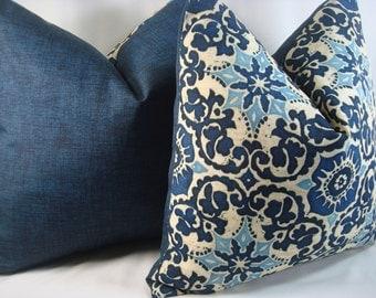 Blue Pillow Indoor/Outdoor Pillow Blue Medallion Pillow Decorative Toss Pillow 17x17 Pillow Cover