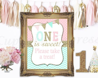 One First Birthday girl pink mint gold Please Take a Treat Sign 8x10 5x7 Prints table display Instant Download Cupcake Express 1031