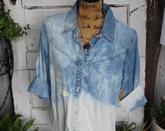 XL Distressed Bleached Denim Shirt, Long Sleeve Denim Shirt, Denim Shirt Size Extra Large, Gypsy, Rustic, Flea Market Style, Grunge, Cuff
