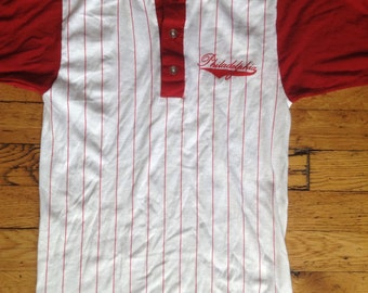 1970's Philadelphia henley baseball style shirt USA small