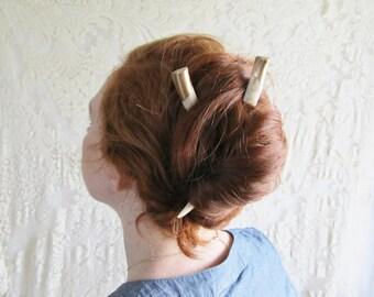 Gold Dipped Hair Sticks Deer Antler Bone Horn -REACH- Unique Hair Pins