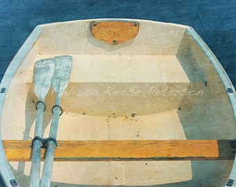 Yellow Boat, Maine Photography, Wrapped Canvas, Nautical Decor, Coastal, Rowboats, Oars, Ocean, Beach Cottage Wall Art