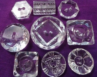 Vintage/antique buttons - moulded clear glass (Ref A60)