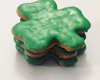 Shamrock Dog Treats - Peanut Butter Treats for Dogs - Saint Patricks Day Treats for Dogs - St Patricks Day - Irish - Green - 4 Treats
