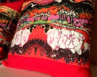 "Sheep Pillow  -  Sheep on a Hot Autumn Day  - Decorative Pillow - 16.5"" x 16.5""  -  Batik fabric - Household gift"