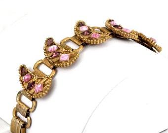 Vintage Pink Victorian Bracelet & Earrings: Book Chain, Pink Ruby Crystal, Rhodochrosite