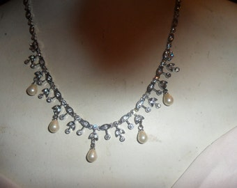Authentic Vintage Beautiful Stunning Rhinestone and Faux Pearl Silver Necklace, WEDDING, BRIDE, PROM, Bridesmaid