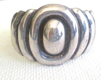 1945 Bold Big Bracelet Sterling Silver Mexico Signed Taller Los Bellastrata Initials