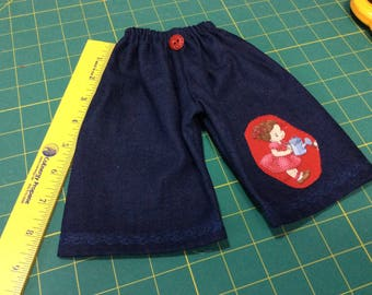 Gardening jeans, Waldorf doll clothes, watering can, Old New 1930's