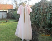 RESERVED Nice Peignoir / Pink / White / Long Peignoir / Size  EUR 46 / 48 / UK18 / 20/ Nightgown / Bridal / Robe / Wedding