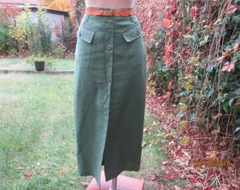 Pencil Skirt / Buttoned Pencil Skirt / Skirt Size EUR38 / UK10 / Green Skirt / Long Pencil Skirt / Green Pencil Skirt