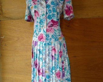 Vintage Drop Waist Floral Dress Size 12
