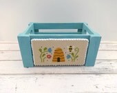 Spring Decor, Spring Crate, Spring Cross Stitch, Finished Cross Stitch, Completed Cross Stitch, Bees, Blue Crate, Beehive Floral Crate