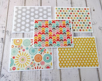 Note Cards, Note Card Set, Blank Cards, Thank You Notes, Stationary, Set of 5 Note Cards with Matching Envelopes, Pinwheels and Polka Dots