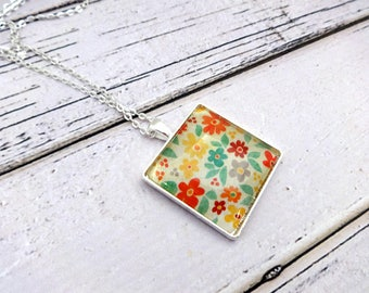Pendant Necklace, Glass Pendant, Charm Necklace, Bezel Necklace, Square Pendant, Cabochon Necklace, Floral Necklace, Spring Blooms