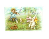 Easter Postcard. Boy Playing Violin. Bunnies Dancing. Spring Scene. Tucks, England. Antique 1910s Victorian Greeting Card Collectible