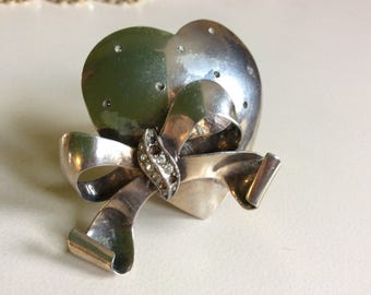 Castlecliff Sterling Heart and Bow Brooch