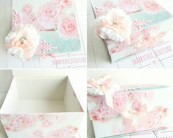 Personalized Baby Keepsake Box, Peonies Box, Personalized Box, Pink and Aqua, Gift Box, Handmade Box, Shabby Chic Box, Roses and Peonies