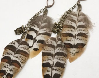 Natural Feather Earrings with Owl Charms, Leverback Earwires, Bronze Chain Dangling Feathers