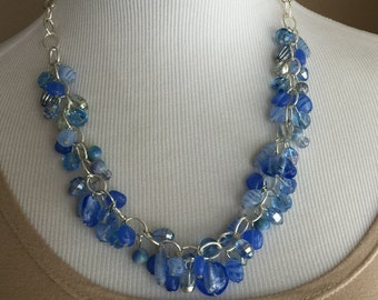 Light blue beaded chunky necklace one of a kind