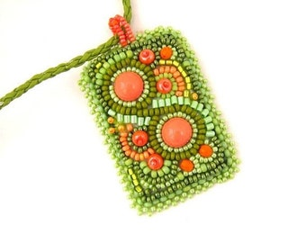 SALE Green bead embroidered necklace, Seed beads necklace, Green and orange pendant, Gift's for her