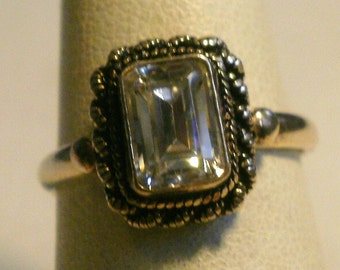 Sterling Silver Clear Stone Ring-Size 5 3/4