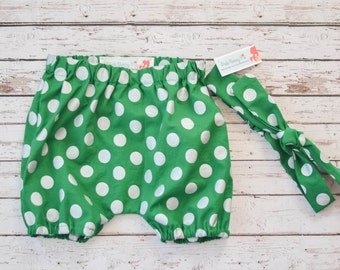 Baby and Toddler Bloomers Shorts Diaper Cover and Matching Headband Set in Green with Silver Polka Dots Christmas Holiday